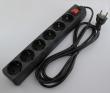 Produžni strujni kabl sa 6 šuko utičnica i prenaponskom zaštitom, dužine 3m, svetleći prekidač, AC 230V - 7A, pakovanje za maloprodaje