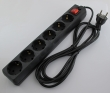 Produžni strujni kabl sa 6 šuko utičnica i prenaponskom zaštitom, dužine 4.5m, svetleći prekidač, AC 230V - 7A, pakovanje za maloprodaje