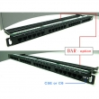 """Patch panel 19""""/0.5U sa 24 RJ-45 UTP kat. 6, dual Krone LSA & 110 IDC reglete, ušteda prostora u reku 50%, držač kablova sa zadnje strane (UP6-24-0.5U / FA-2380K-248-C6-0.5U)"""