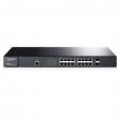 "TP-Link TL-SG3216 / T2600G-18TS JetStream™ upravljiv svič 16-port Gigabit 10/100/1000Mb/s+ 2 x SFP Gigabit, 4K VLANs 802.1Q, SNMP, RMON, QoS 802.1p priority, Access Control List L2~L4, Link Aggregation,desktop /19"" rack"