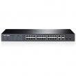 """TP-Link TL-SL2428 upravljiv svič 24 x 10/100Mb/s+ 4 x 10/100/1000Mb/s+ 2 x SFP Gigabit port, 512 VLANs 802.1Q, SNMP, RMON, QoS 802.1p priority, Access Control List L2~L4, Link Aggregation, Rate limit, desktop /19"""" rack"""