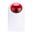 Sirena bežična 433MHz sa strob crvenim svetlom, outdoor, negoreće UV otporno ABS plastično kućište, PT2262/1527 enkoder domet 120m, 3.8KHz ton, napajanje 12VDC/500mA, mesto za backup bateriju AAA 7.2V (PE-516R)
