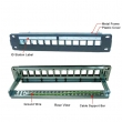 "Patch panel 10""/1U sa 12 slotova za module - prazan, Shielded sa uzemljenjem I držačem kabla, Full"