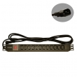 "220V razvodni PDU panel 19""/1U sa 12 x C13 utičnih mesta, prekidačem i kablom 3m sa C14 utikačem"