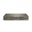 "Tenda TEF1118P-16-150W PoE svič 16-port 10/100Mb/s PoE 802.3at/af + 1 Gigabit 10/100/1000Mb/s + 1 SFP port, extend mode dometa 250m, 6000V lightning protection - na svim portovima i napajanju, VLAN, desktop/19"" rackmount"