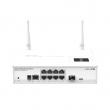 MikroTik CRS109-8G-1S-2HnD-IN L3 upravljiv svič 9 x GbE (8xRJ45+SFP) + 2.4GHz 802.11n WiFi 300Mb/s hi-power 1000mW + USB, LCD, CPU 600MHz, 128MB RAM, PoE in, VPN-3G ruter/firewall/bandwith manager/load balancer, ROS L5