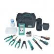 Komplet alata za fiber optičke mreže (FTTH) - striper za FTTH kablove, fiber optički striper, nož za sečenje fiber vlakna (cleaver), fiber optički PowerMeter, vizuelni fiber tester, sečice, sklalpel, torbica (PK-9456)