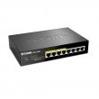 D-Link DGS-1008P/E PoE+ svič 8 port 10/100/1000Mb/s, 4 PoE porta 802.3at do 30W, ukupan PoE budžet 68W, QoS, metalno desktop kućište
