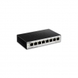 D-Link DGS-1100-08/E 8 port Gigabit Smart upravljiv desktop svič, 802.1Q VLAN, 802.1p QoS, IGMP snooping, Port mirroring, Bandwidth & Storm control, IEEE 802.3az EEE, Cable diagnostic LED, bez ventilatora