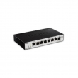D-Link DGS-1100-08P 8 port Gigabit Smart upravljiv PoE+ desktop svič, 8 PoE porta 802.3at do 30W, ukupan PoE budžet 64W, 802.1Q VLAN, 802.1p QoS, IGMP snooping, Port mirroring, Cable diagnostic LED, bez ventilatora