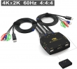 DP KVM USB svič CKL-321DP 2-portni DisplayPort sa kablovima, 4K x 2K @60Hz 4:4:4, izlaz za audio i mikrofon, HDCP 2.2,  HDR10, svič mode: wired remote push button