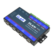 ZLAN industrijski 4-portni RS-485 serijski device server i MODBUS gateway ZLAN5443D, terminal za RS-485, 2 x LAN svič za kaskadu do 4 uređaja, 2KV izolacija, DIN metalno kućište, 9~24Vdc (kupuje se posebno), -40~85°C
